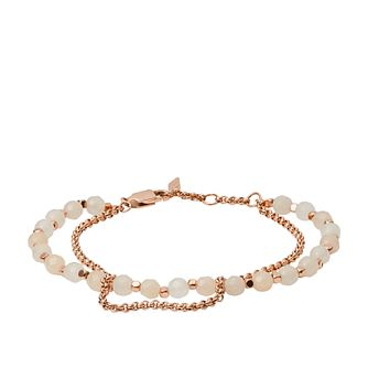 Fossil Ladies' Multi Beaded Rose Gold Tone Bracelet - Product number 3663507