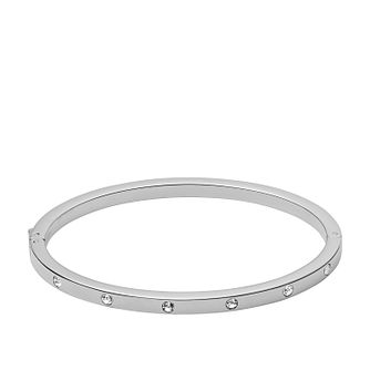 Fossil Ladies' Silver Tone Crystal Bangle - Product number 3663523