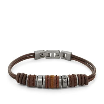 Fossil Men's Rondell Brown Leather Bracelet - Product number 3663574