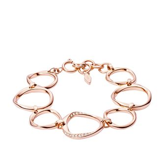 Fossil Ladies' Rose Gold Tone Crystal Twist Bracelet - Product number 3663639