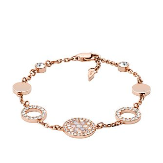 Fossil Ladies' Rose Gold Tone Mother-Of-Pearl Disc Bracelet - Product number 3663744