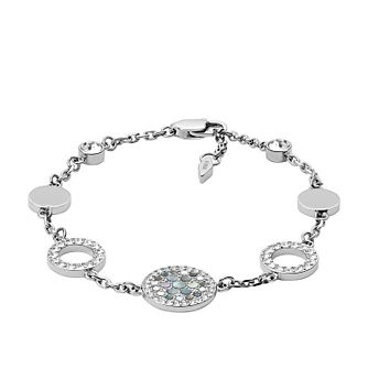 Fossil Ladies' Silver Tone Mother-Of-Pearl Disc Bracelet - Product number 3663752