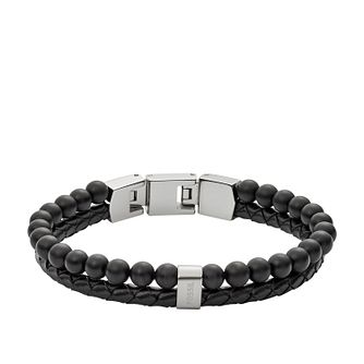 Fossil Men's Black Leather & Agate Bead Bracelet - Product number 3663760
