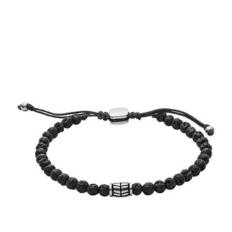 Fossil Men's Black Lavastone Bead Bracelet - Product number 3663779