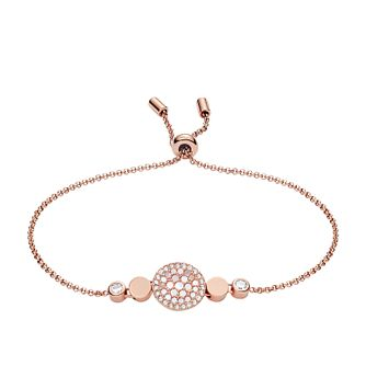 Fossil Ladies' Rose Gold Tone Mother-Of-Pearl Disc Bracelet - Product number 3663795