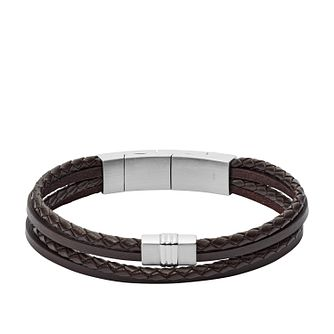Fossil Men's Multi-Strand Brown Leather Bracelet - Product number 3663817