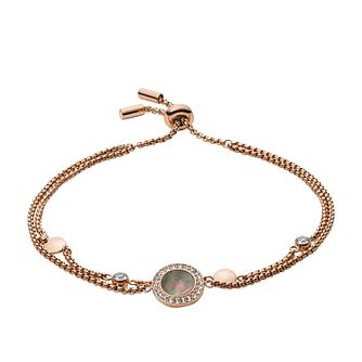 Fossil Ladies' Rose Gold Tone Mother-Of-Pearl Disc Bracelet - Product number 3663825