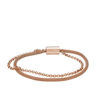 Fossil Ladies' Duo Rose Gold Tone Mesh Bracelet - Product number 3663833