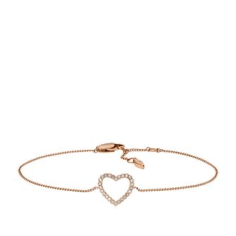 Fossil Ladies' Rose Gold Tone Crystal Heart Bracelet - Product number 3663841