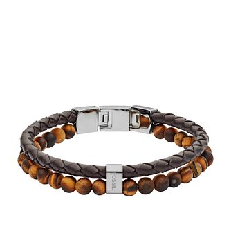 Fossil Tiger Eye & Leather Double Bracelet - Product number 3663876