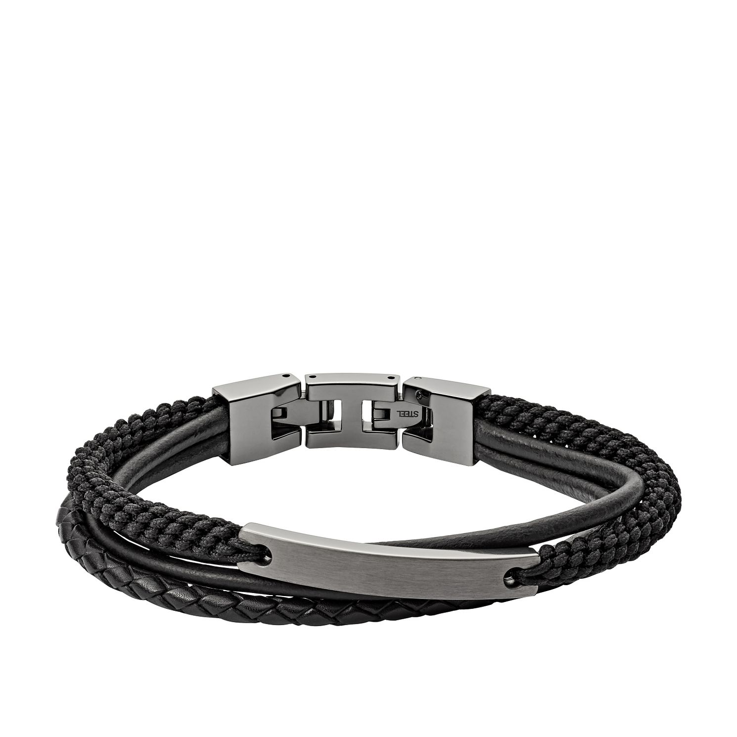 Fossil Men's Multi-Strand Black Leather Bracelet - Product number 3664228