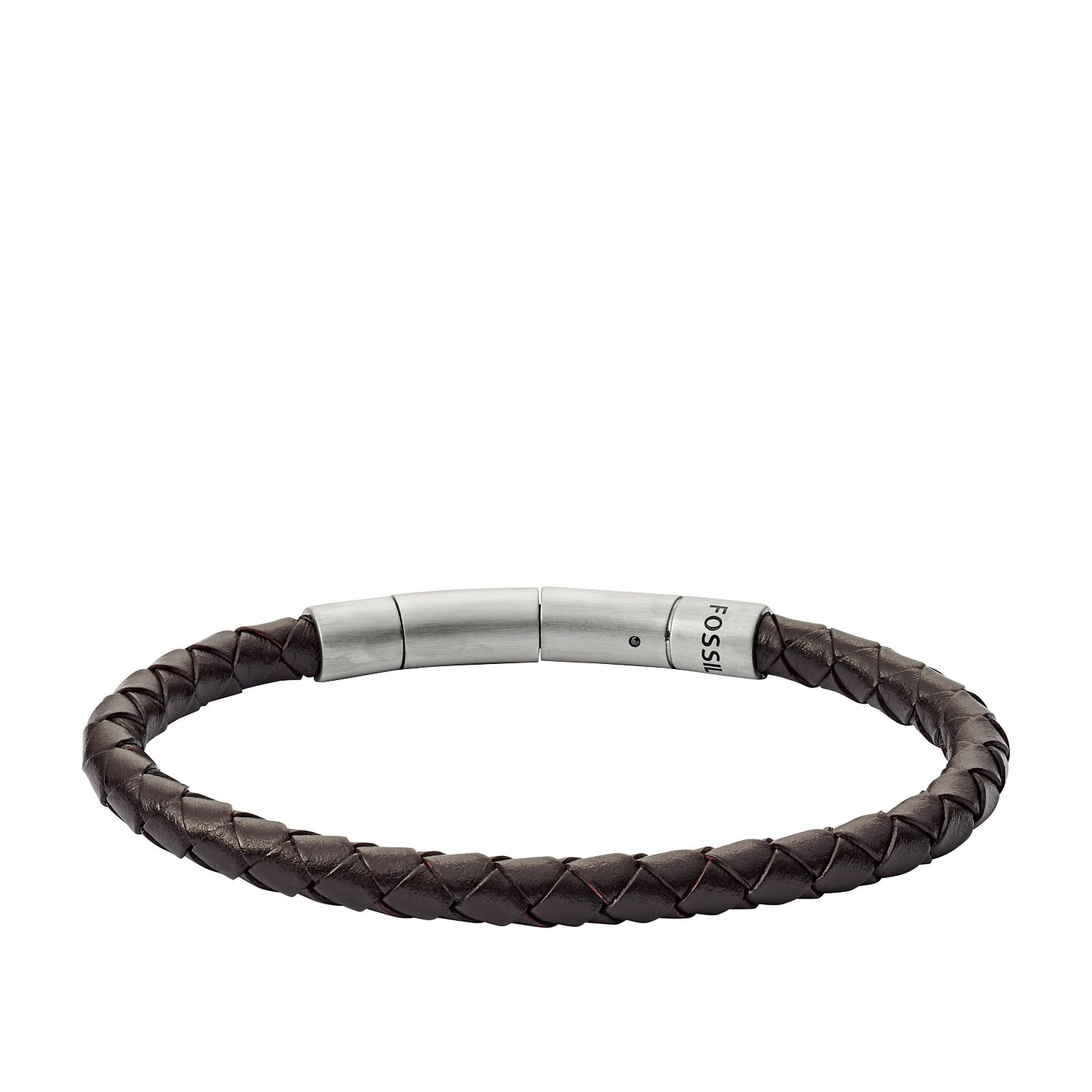 Fossil Men's Brown Leather Plait Bracelet - Product number 3664236