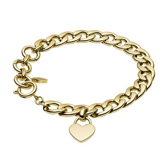 Fossil Ladies' Gold Tone Heart Charm Bracelet - Product number 3664244