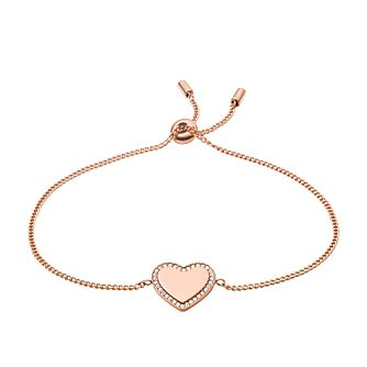 Fossil Ladies' Rose Gold Tone Crystal Heart Bracelet - Product number 3664279