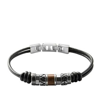 Fossil Men's Black Leather & Steel Rondell Bracelet - Product number 3664309