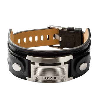 Fossil Men's Black Leather & Steel Cuff Bracelet - Product number 3664333