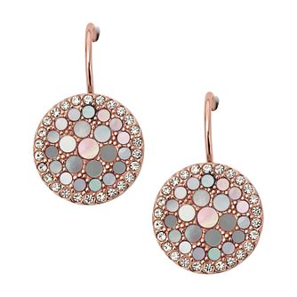 Fossil Ladies' Rose Gold Tone Crystal Disc Drop Earrings - Product number 3664376