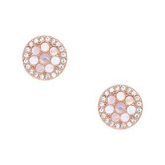 Fossil Ladies' Rose Gold Tone Crystal Disc Stud Earrings - Product number 3664384