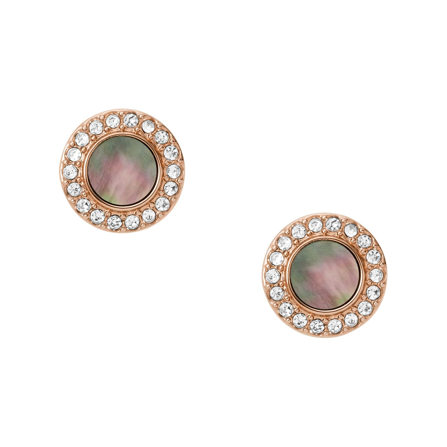 Fossil Ladies' Rose Gold Tone MOP Disc Stud Earrings - Product number 3664457