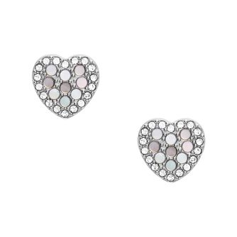 Fossil Ladies' Silver Tone MOP Heart Stud Earrings - Product number 3664570