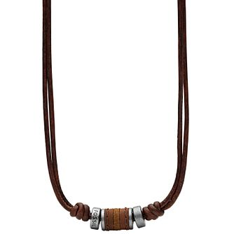 Fossil Men's Brown Leather Rondell Bead Necklace - Product number 3664589