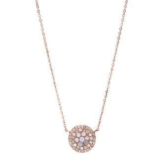 Fossil Ladies' Rose Gold Tone Mother-Of-Pearl Disc Pendant - Product number 3664635