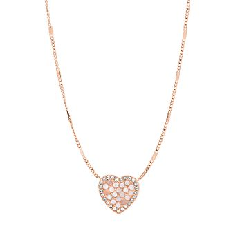 Fossil Ladies' Rose Gold Tone Mother Of Pearl Heart Pendant - Product number 3664708
