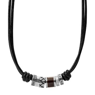 Fossil Men's Black Leather & Steel Rondell Bead Necklace - Product number 3664775
