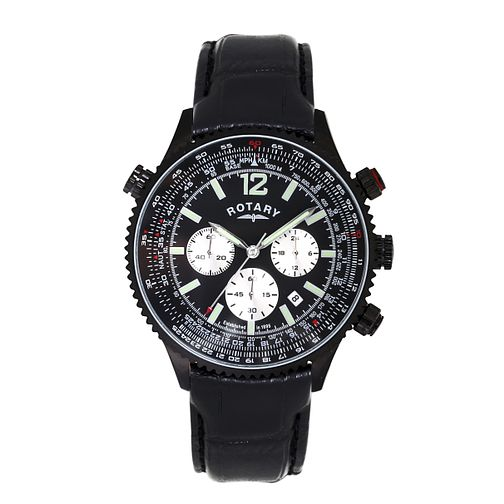 Rotary Men's Black Dial Black Leather Strap Watch - Product number 3666328