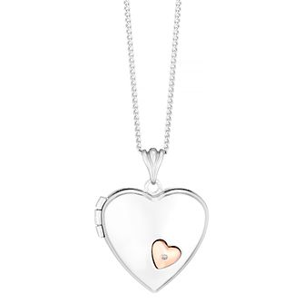 Silver and 9ct rose gold diamond locket - Product number 3667758