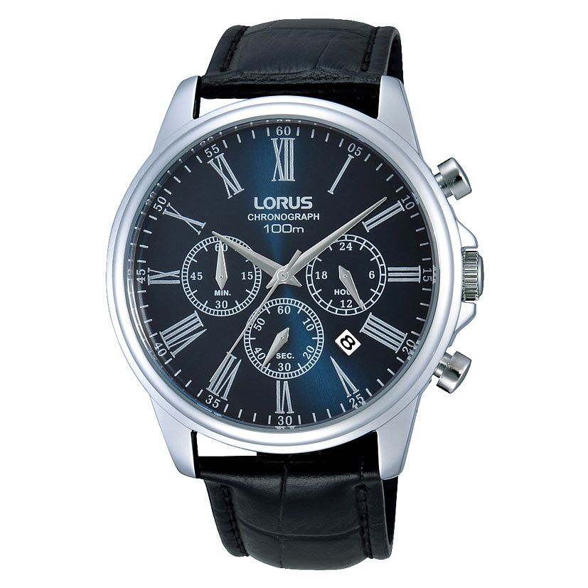 Lorus Men's Chronograph Blue Dial Black Leather Strap Watch - Product number 3669335