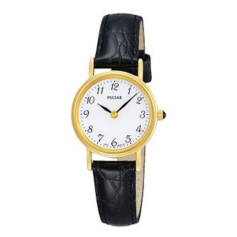 Pulsar Ladies' White Dial Black Leather Strap Watch - Product number 3671232
