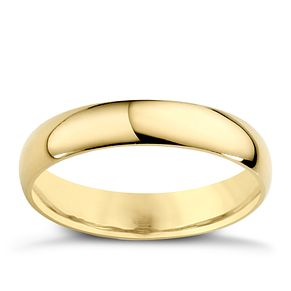 9ct Yellow Gold 4mm Extra Heavy D Shape Ring - Product number 3671410