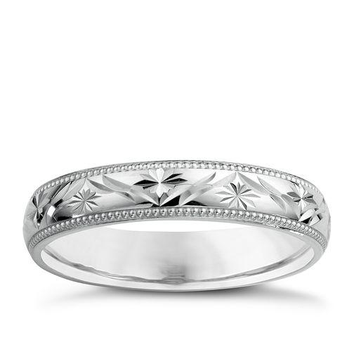 9ct White Gold Ladies' Patterned Wedding Ring | H Samuel