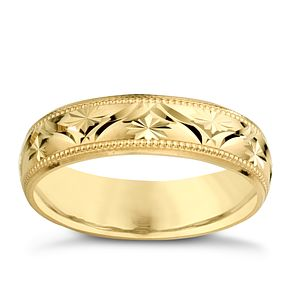 9ct Yellow Gold Ladies' Patterned Wedding Band - Product number 3671801