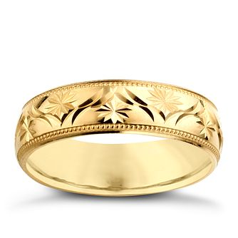 9ct Yellow Gold Mens Patterned Wedding Ring