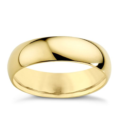 18ct Yellow Gold 5mm Extra Heavy D Shape Ring - Product number 3672298