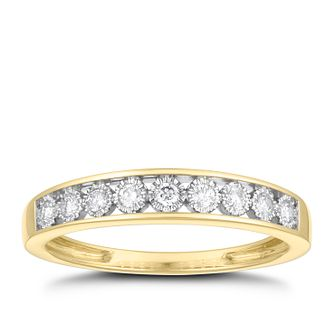 9ct Yellow Gold 0.15ct Diamond Illusion Set Eternity Ring - Product number 3673022