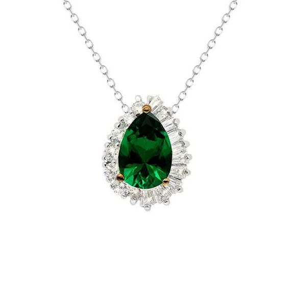 CARAT* LONDON Eleanor White Gold Tone Green Diamond Pendant - Product number 3679292