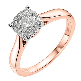 18ct Rose Gold 0.25ct Diamond Cluster Ring - Product number 3694755