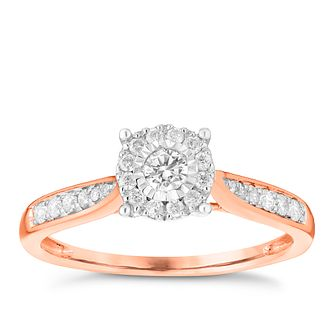 9ct Rose Gold 0.25ct Diamond Illusion Set Cluster Ring - Product number 3695646