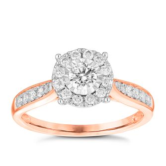 9ct Rose Gold 0.50ct Diamond Illusion Set Cluster Ring - Product number 3696650