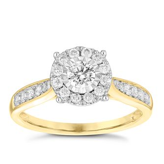9ct Yellow Gold 0.50ct Diamond Illusion Set Cluster Ring - Product number 3696936