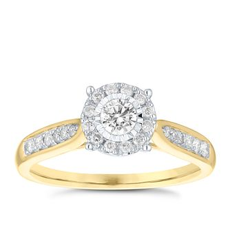 9ct Yellow Gold 0.33ct Diamond Illusion Set Cluster Ring - Product number 3698289
