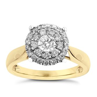 18ct Yellow Gold 0.75ct Diamond Cluster Ring - Product number 3699331