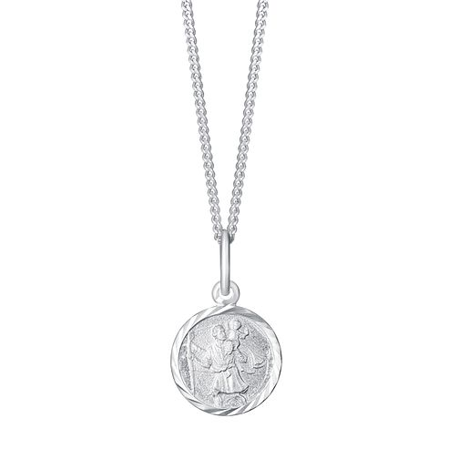 Sterling Silver Small Round St Christopher Pendant - Product number 3716627