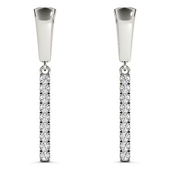 Line of Love 9ct white gold 0.12ct diamond earrings - Product number 3718212