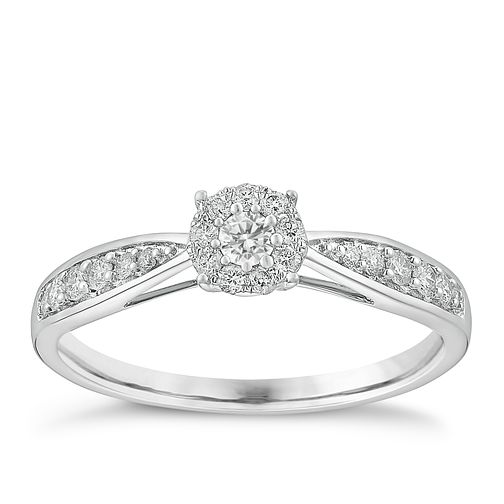 9ct white gold 1/4ct halo cluster diamond ring - Product number 3722511