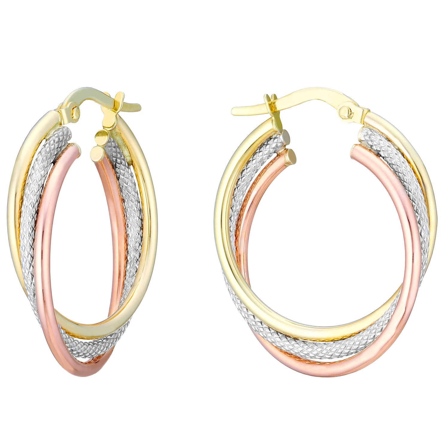 9ct 3 Colour Gold 3 Row 20mm Hoop Earrings - Product number 3727912