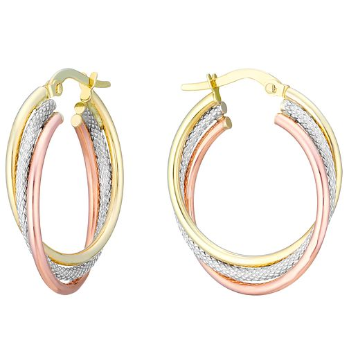 9ct Gold, White Gold & Rose Gold Fancy Twist Creole Earrings - Product number 3727912